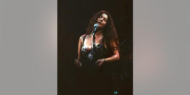 Janis Joplin performing at the Fillmore East circa 1968 in New York City.