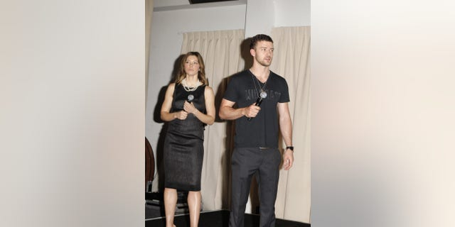 Jessica Biel and Justin Timberlake at a 2008 charity auction. (Photo by Chris Polk/FilmMagic)