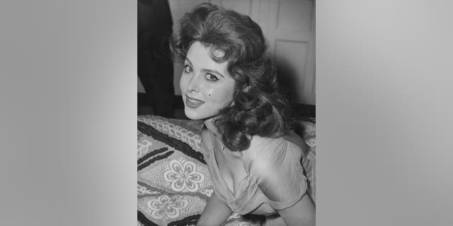 """Tina Louise at the Savoy Hotel in London, shortly before the premiere of her latest film """"God's Little Acre,"""" circa 1958."""