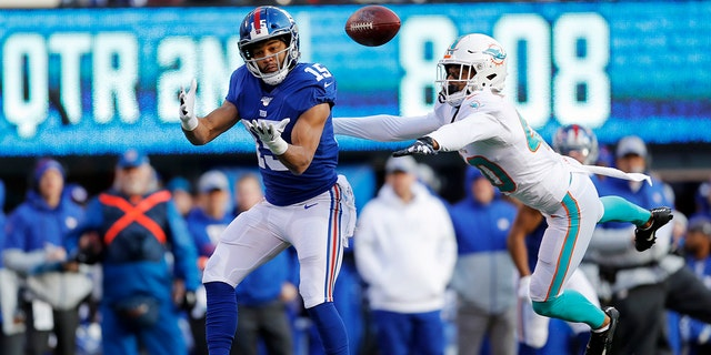 New York Giants wide receiver Golden Tate (15) making a catch on his way to score a touchdown in front of Miami Dolphins defensive back Nik Needham (40) on Sunday. (AP Photo/Adam Hunger)