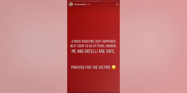 Jenna Jameson's Instagram message following the shooting.
