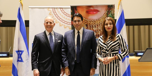 U.S. State Department's聽Special Envoy for Monitoring and Combating anti-Semitism Elan Carr (left), Israel's Ambassador to the United Nations Danny Danon and former Miss Iraq Sarah Idan.