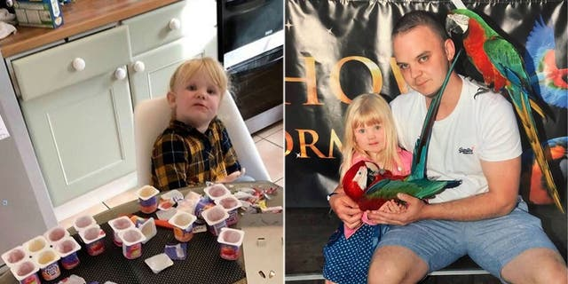 Aaron Whysall (right, with daughter Olivia) said he wasn't even angry, but rather concerned and impressed at his daughter's ability to scarf down 18 yogurts.(Kennedy News and Media)