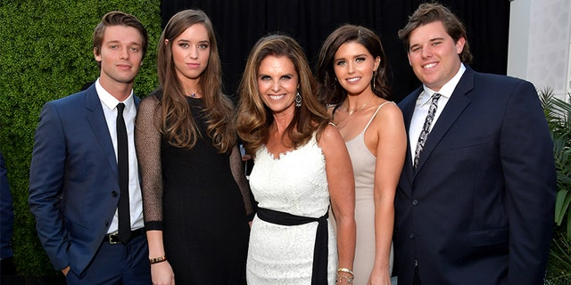 Left to right: Patrick Schwarzenegger, Christina Schwarzenegger, Maria Shriver, Katherine Schwarzenegger and Christopher Schwarzenegger attend The Comedy Central Roast of Rob Lowe at Sony Studios on August 27, 2016, in Los Angeles, California.