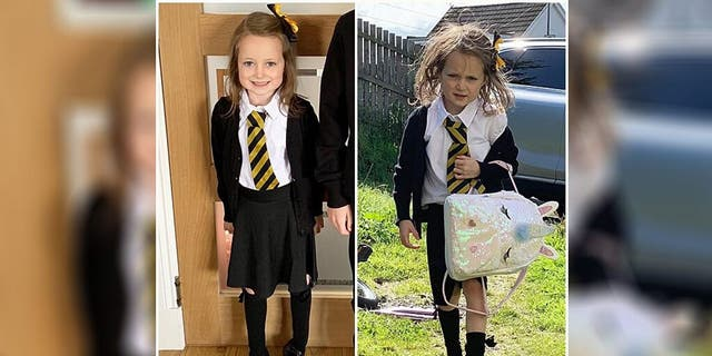 One adorably frazzled picture taken after a five-year-old girl's first day back at school has gone massively viral on Facebook, though her mother is still mystified as to how the youngster got so messy in the first place.(Courtesy ofBarrhead News)