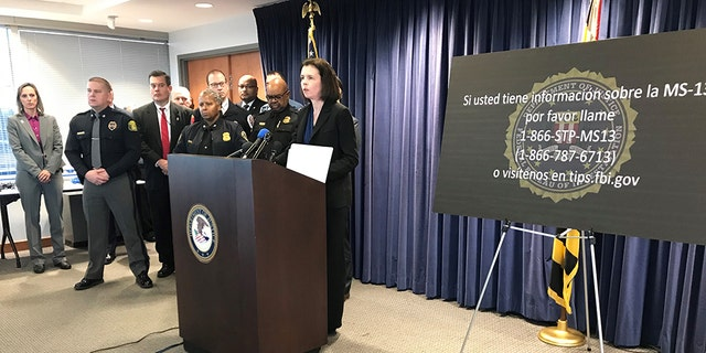Jennifer Boone, FBI special representative in assign in Baltimore, speaks during a news discussion announcing a new inhabitant MS-13 tip line.