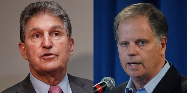 Sen. Joe Manchin, D-W.Va, and Sen. Doug Jones, D-Ala., are believed to be possible votes to acquit the president in an impeachment trial. (AP/Reuters)