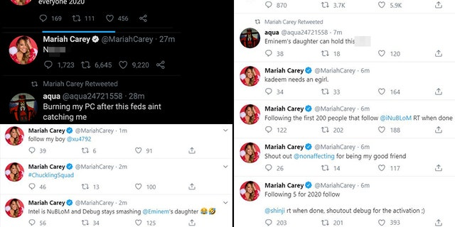 Pop diva Mariah Carey, the queen of Christmas, didn't have a nice New Year's Eve after her Twitter was hacked on Tuesday.