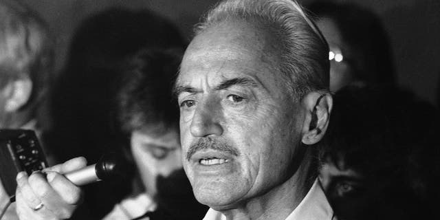 FILE - This July 16, 1981 file photo shows baseball union leader Marvin Miller speaking to reporters after rejecting a proposal to end a baseball strike, in New York. Miller, the union leader who revolutionized baseball by empowering players to negotiate multimillion-dollar contracts and to play for teams of their own choosing, was elected to baseball's Hall of Fame on Sunday, Dec. 8, 2019. (AP Photo/Howard, File)