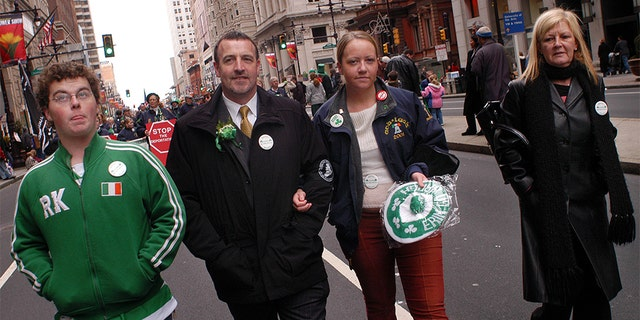 Malachy McAllister, second from left, and his family members march in Philadelphia's St. Patrick's Day parade in 2004. (Photo by William Thomas Cain/Getty Images)