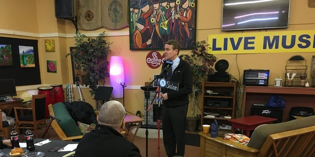 Democratic presidential candidate Sen. Michael Bennet of Colorado campaigns at a cafe in Salem, NH, on Dec. 6, 2019