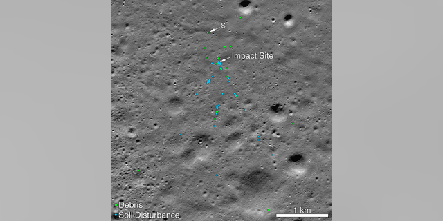"This image released by NASA shows the Vikram Lander impact point and the debris field. Green dots indicate spacecraft debris (confirmed or likely). Blue dots locate disturbed soil, likely where small bits of the spacecraft churned up the Moon's surface. ""S"" indicates debris identified by Shanmuga Subramanian. (Credits: NASA/Goddard/Arizona State University)"