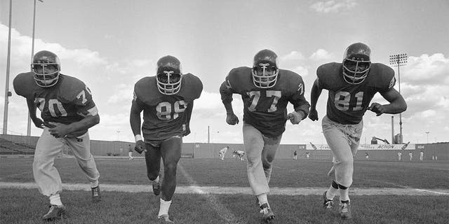 In this Sept. 16, 1971 photo, the powerful defensive front four of the Minnesota Vikings , from left, Jim Marshall, Alan Page, Gary Larson, Carl Eller pose during NFL football practiced in Minneapolis. Helmets have evolved from the original hard leather of the NFL's infancy to hard polycarbonate single-piece shells with various amounts of padding and air bladders that served as the primary form of head protection into the beginning of this century. (AP Photo/File)