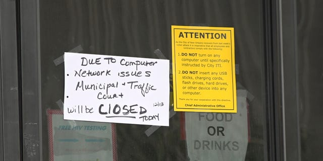 """Signs reading """"closed"""" plastered on the doors of New Orleans' municipal and traffic courts. The courts have been disabled since hackers hit New Orleans' computer systems with ransomware. (Fox News/Charles Watson)"""