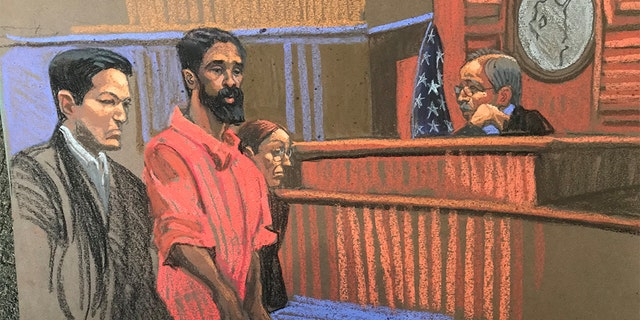Grafton Thomas appeared in court Monday. (Sketch artist Christine Cornell)