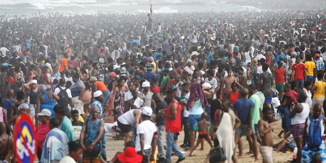 Revellers enjoy New Year's Day on a beach in Durban, South Africa January 1, 2017. (Reuters)
