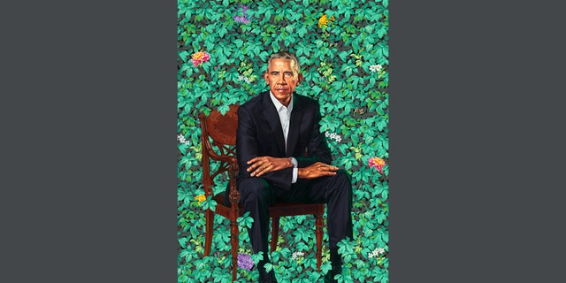 The finished work of art featured a 7-foot mural of former President Barack Obama sitting in a margin of flowers. (Smithsonian)