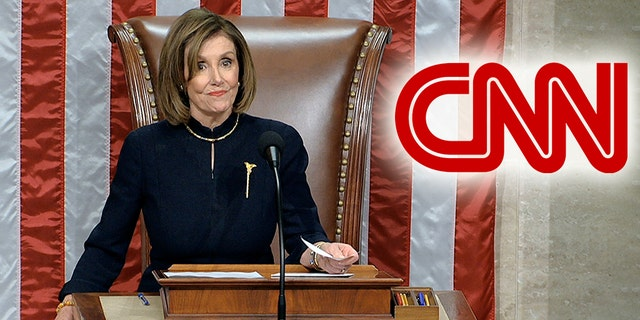 CNN strongly praised Speaker Nancy Pelosi for her conduct on the day of the House impeachment vote. (House Television via AP, Montage)