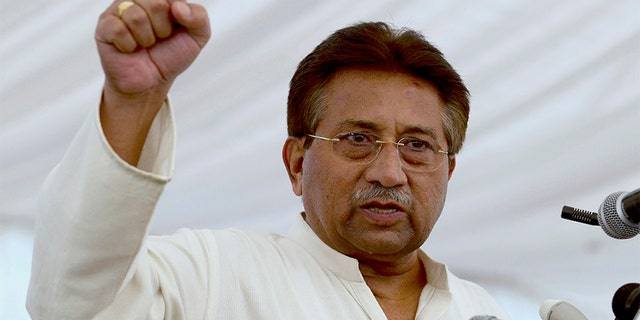 In this 2013 file photo, Pakistan's former President and military ruler, Pervez Musharraf, addresses his party supporters at his house in Islamabad, Pakistan. (AP)