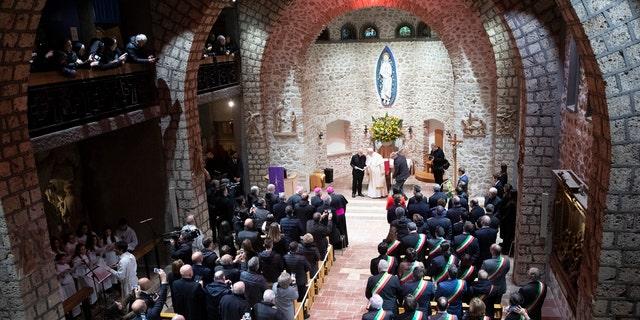Pope Francis visits the sanctuary of Greccio, Italy, Sunday, Dec. 1, 2019. (AP Photo/Alessandra Tarantino)