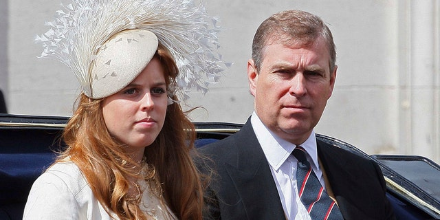 LONDON - JUNE 16: Prince Andrew, Duke of York sits next to his daughter Princess Beatrice during the Trooping the Colour ceremony on June 16, 2007 in London. Each year the official birthday of Queen Elizabeth II is commemorated with a military parade and march-past of fully trained, operational troops from the Household Division. (Photo by Peter Macdiarmid/Getty Images)