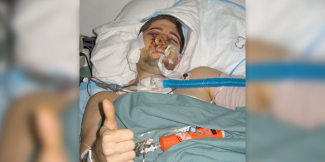 Redman at the Combat Support Hospital in Baghdad on Sept 13, 2007 -- after emergency surgery, following the firefight that almost took his life.