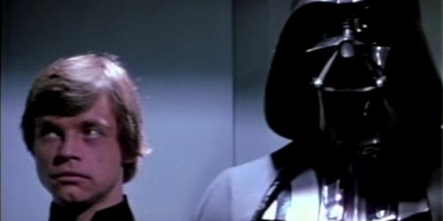 "Luke Skywalker and Darth Vader in ""Return of the Jedi."""