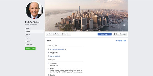Rudy Giuliani raises eyebrows after calling himself 'Former Attorney General of the United States' on Facebook page