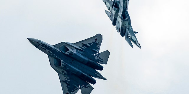 In this file photo taken August 2019, Russian Air Force Sukhoi Su-57 fifth-generation fighter jets perform during an air show, outside Moscow. Russia is now developing a new stealth fighter. (AP)
