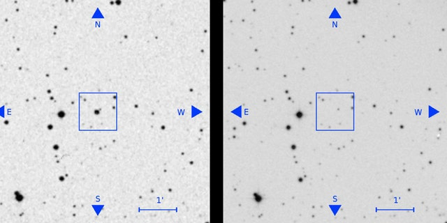 A source visible in an old plate (left, seen as the bright source at the centre of the square) has disappeared in a later plate (right). From Villarroel et al. (2019). (Credit: Villarroel et al. (2019)