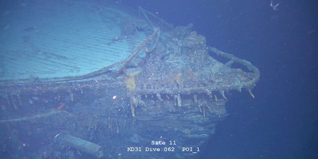 The bow of the sunken battlecruiser. (Falklands Maritime Heritage Trust)