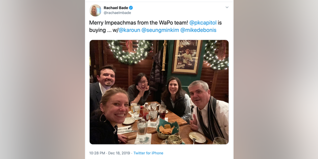 "A screen capture shows Washington Post reporter Rachael Bade's ""Impeachmas"" celebration post, which has since been deleted."