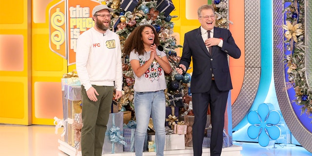 """America's top-rated and longest-running game show """"The Price is Right"""" hosted by Drew Carey with special guest Seth Rogen. (Photo by Ella DeGea/CBS via Getty Images)"""
