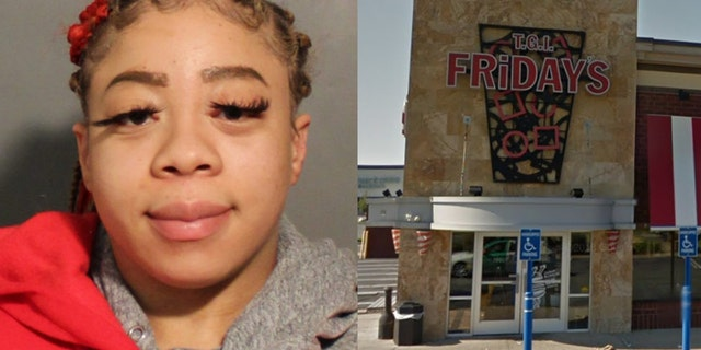 """Skylar Williams, 32, allegedlythreatened to stab aTGI Fridays employeewho tried to stop her from heading home with an extra helping from their """"all-you-can-eat""""deal. (Photo: Nassau County Police Department/Google Maps)"""