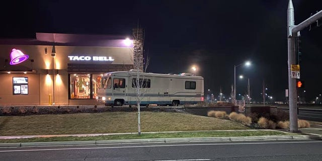The Kennewick Police Department shared photos of the RV to their Facebook page, showing the vehicle stuck and facing the wrong way.