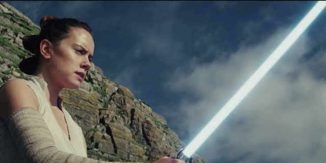 "Daisy Ridley as Rey in ""The Last Jedi."""
