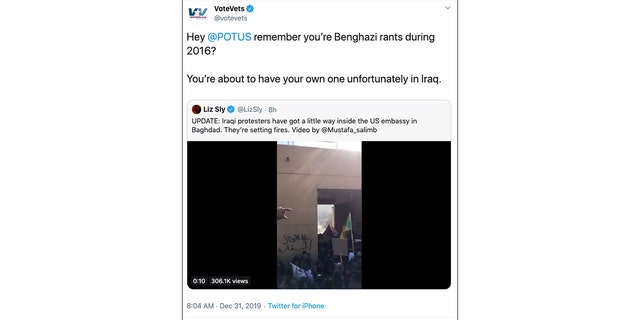 Westlake Legal Group VoteVets-Tweet Progressive group under fire for taunting Trump by calling violent Baghdad protests his 'Benghazi' Joseph Wulfsohn fox-news/world/world-regions/iraq fox-news/us/military/veterans fox-news/tech/companies/twitter fox-news/politics/foreign-policy/state-department fox-news/person/donald-trump fox-news/media fox news fnc/politics fnc article 2f38283c-cf12-5faa-a49b-cf4accee28b7