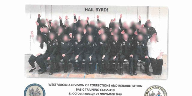 Multiple people have been either fired or suspended in connection with a photo that appeared to show corrections trainees giving a Nazi salute.   (West Virginia Department of Military Affairs and Public Safety)