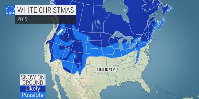 """The locations where a """"white Christmas"""" is likely this year as of Dec. 18, according to AccuWeather."""