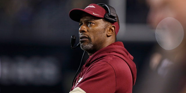 FILE - In this Saturday, Oct. 19, 2019, file photo, Florida State coach Willie Taggart watches his team play Wake Forest during the first half of an NCAA college football game in Winston-Salem, N.C. Florida Atlantic has reached an agreement with Taggart to be its new football coach, replacing Lane Kiffin, said a person familiar with the negotiations. (AP Photo/Nell Redmond, File)