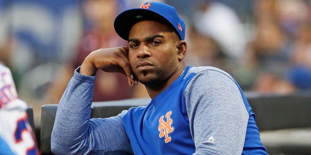 New York Mets' Yoenis Cespedes looks on as his team play the San Diego Padres during the first inning of a baseball game in New York, July 24, 2018. (Associated Press)