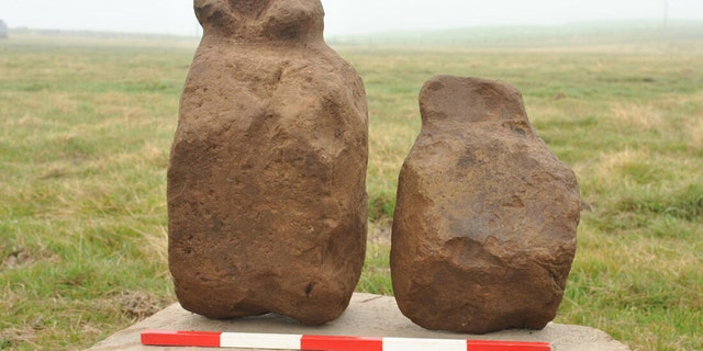 Two of the figurines before cleaning, Finstown, Orkney. (Credit: ORCA Archaeology)
