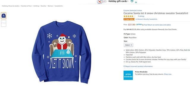 Westlake Legal Group amazon-let-it-snow Controversial 'Cocaine Santa' Christmas sweater now an Amazon bestseller after Walmart stops offering it fox-news/style-and-beauty fox-news/lifestyle/occasions/christmas fox news fnc/lifestyle fnc article Alexandra Deabler 9e581496-a781-57b3-b146-b20f49cc82c9
