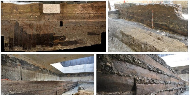 Some of the oak planks in situ in the foundation of the portico. (Credit: Bernabei at al., 2019)