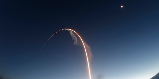 A time exposure of the United Launch Alliance Atlas V rocket carrying the Boeing Starliner crew capsule on an Orbital Flight Test to the International Space Station lifts off from Space Launch Complex 41 at Cape Canaveral Air Force station, Friday, Dec. 20, 2019, in Cape Canaveral, Fla. (AP Photo/Terry Renna)
