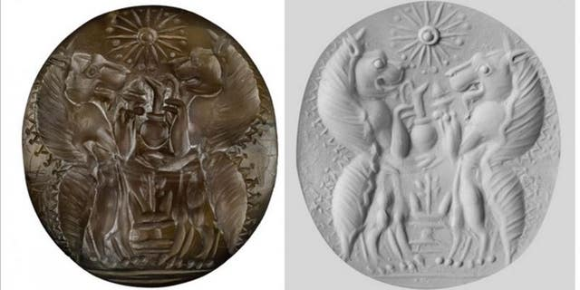 UC archaeologists found a sealstone made from semiprecious carnelian in the family tombs at Pylos, Greece. The sealstone was engraved with two lionlike mythological figures called genii carrying serving vessels and incense burners facing each other over an altar and below a 16-pointed star. The other image is a putty cast of the sealstone. (University of Cincinnati Classics Department)