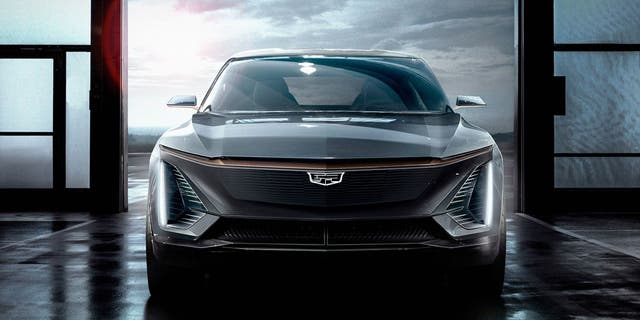 Cadillac's first electric crossover is previewed in this sketch.