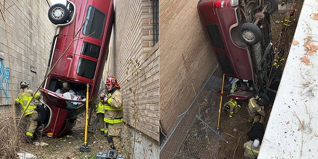 "Heavy rescue crews were called in due to the vehicle's position and ""stability"" concerns."