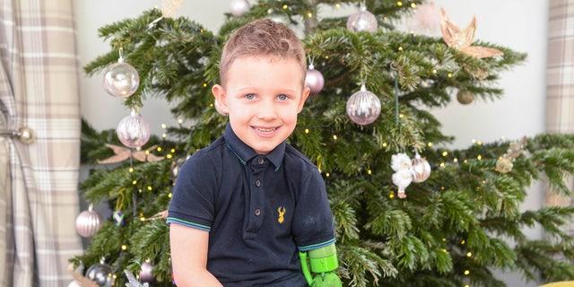 Jacob Scrimshaw, 5 with his new prosthetic arm.