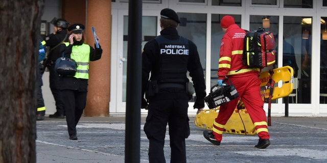 Police and officials say at least four people have been killed in a shooting in a hospital in the eastern Czech Republic. Two others are seriously injured. (Jaroslav Ozana/CTK via AP)